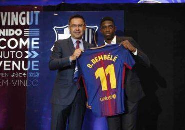 बार्सिलोनाले डेम्बेलेलाई ५ वर्षको लागि क्लबमा भित्रायो
