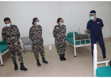 नेपाली सेनाले एकै दिन तैयार गर्यो २२५ सैयाको आइसोलेशन वार्ड